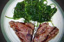 Sauteed spinach and pea shoots