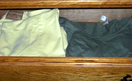 Gold Pants & Green Shirt in Drawer