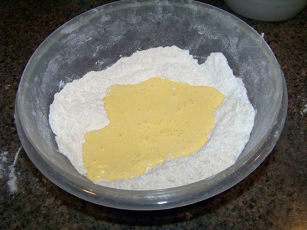 Add Eggs & Cream to Flour Mixture