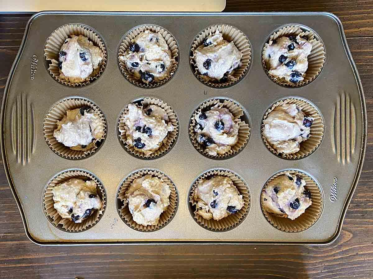 Fill muffin cups