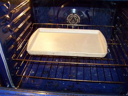 Pre-heat Stone or Cookie Sheet