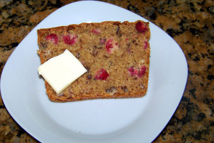 Slice of Cranberry Nut Bread