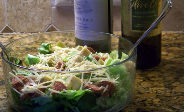 Spicy Italian Salad (with Grass Fed Summer Sausage)