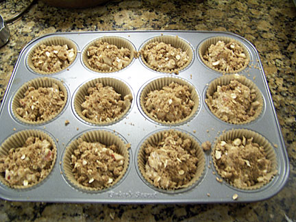 Unbaked Muffins Topped with Stresel