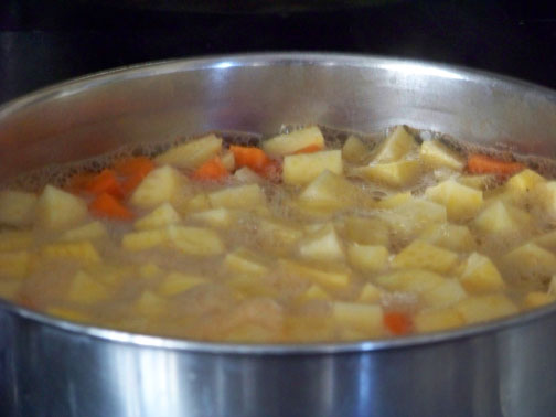Boiling Carrot and Rutabaga Cubes