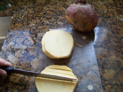 Cutting Rutabaga