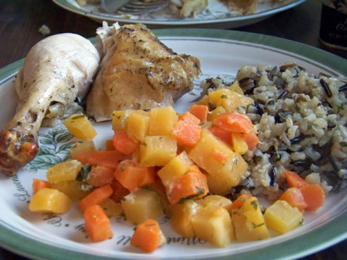 Carrot Rutabaga Ring with Chicken and Rice