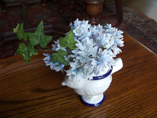 striped squill in egg cup vase