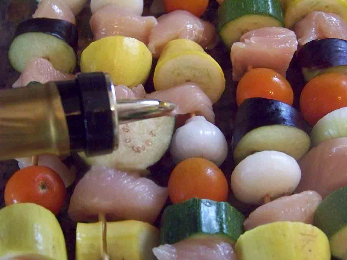 drizzle kabobs with olive oil