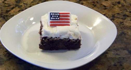 (Patriotic) Brownies with Mint Buttercream Frosting