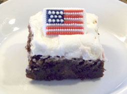 Brownie with Mint Buttercream and Flag Candy