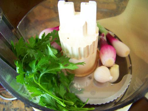 Parsly, Scallions & Garlic in Food Processsor