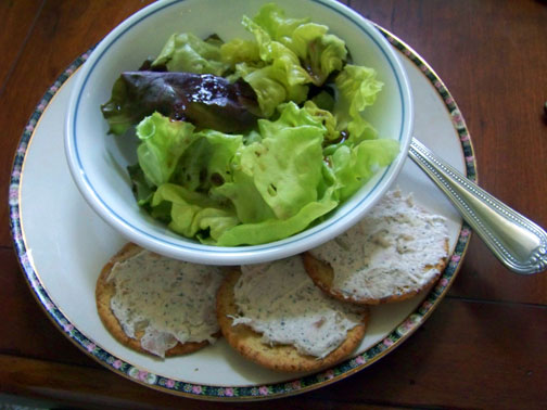 Smoked Fish Dip on Crackers with Salad
