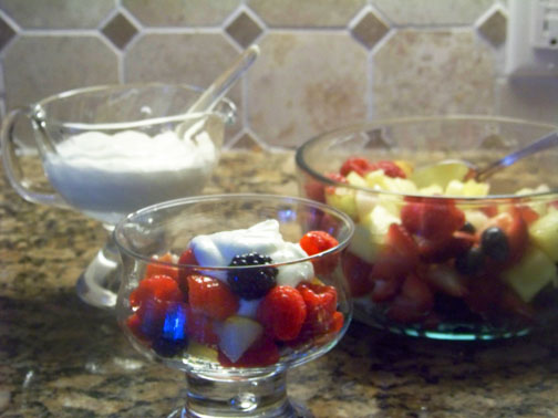 Fresh Fruit in Creamy Grand Marnier Sauce