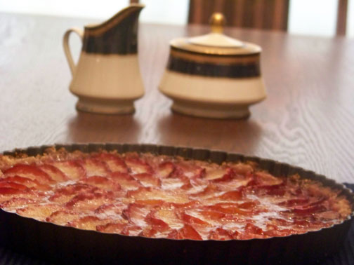 Plum Tart on Table