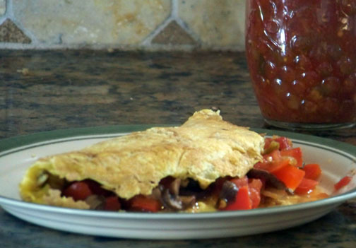 Tomato, Red Pepper and Mushroom Fall Omelet