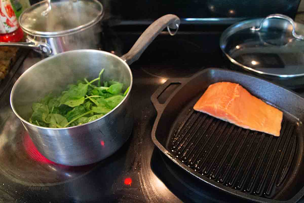cooking salmon and spinach