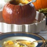 Pumpkin Leek Soup Baked in a Pumpkin