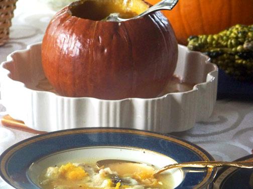 Savory Pumpkin Leek Soup (Baked in a Pumpkin)