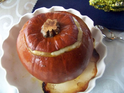 Soup Baked in Pumpkin--Done!