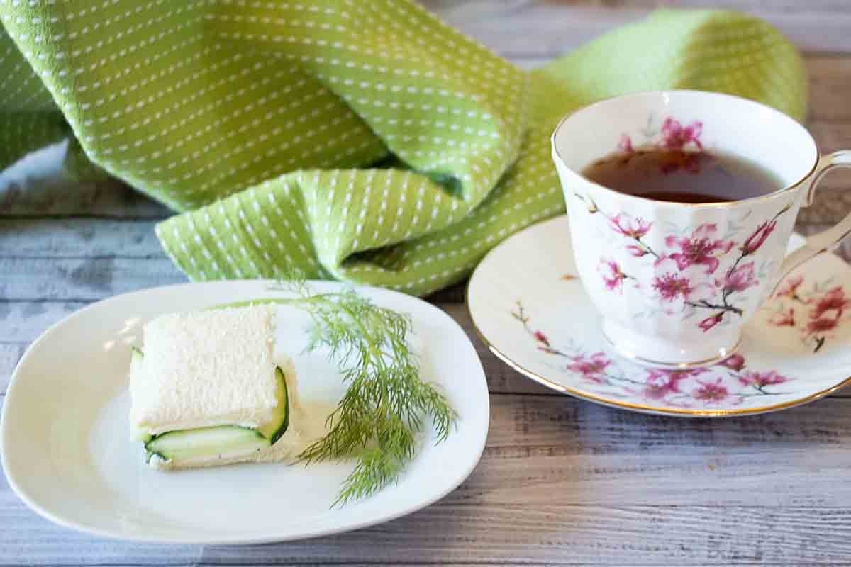 Elegant and tasty, cucumber tea sandwiches are flavored with cream cheese and dill. Perfect for afternoon tea, a shower, book club or garden party.