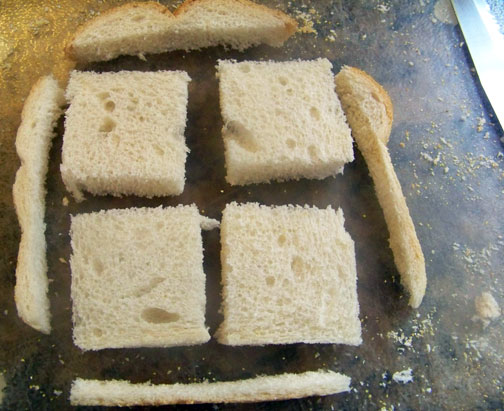 Quartered bread slice