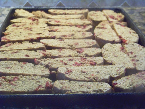 biscotti slices in pan