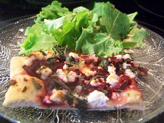 Pickled Beet and Kale Pizza with Salad