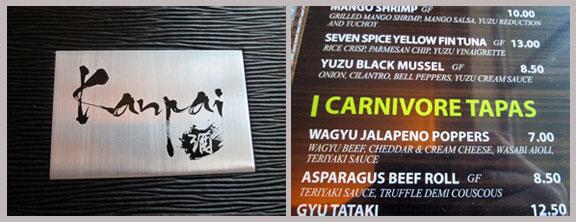 Kanpai Japanese fusion menu