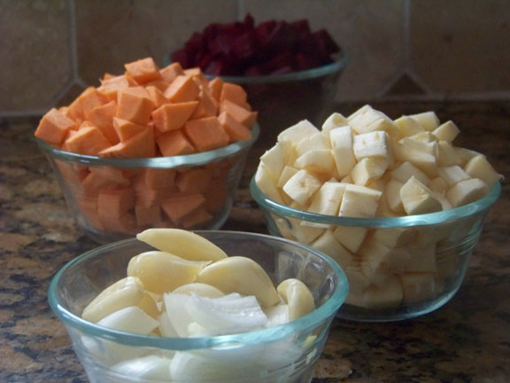 Diced beets, parsnips, sweet potato