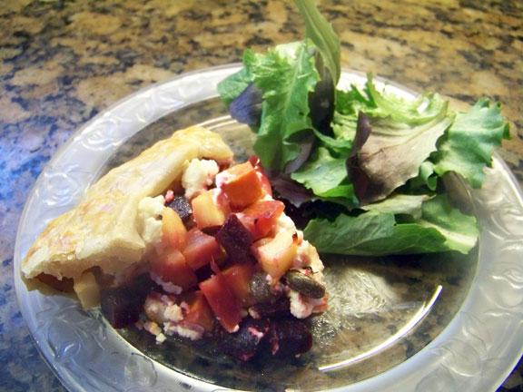 Galette slice with salad