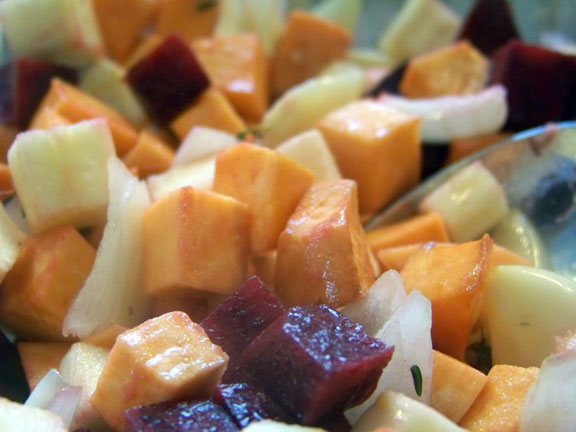 Root vegetables in bowl