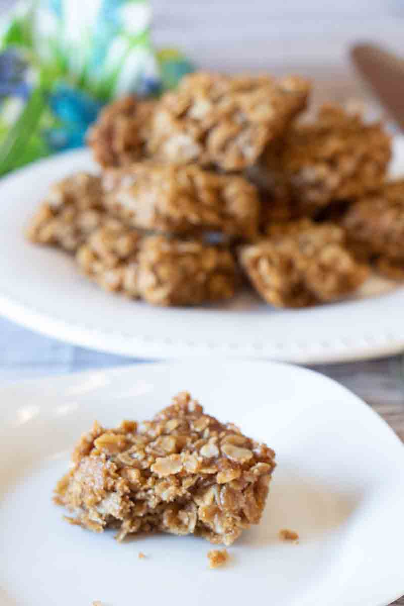 Golden, sweet and chewy these 4-ingredient granola bar cookies come together in five minutes of working time. Mom and kid-pleasing!