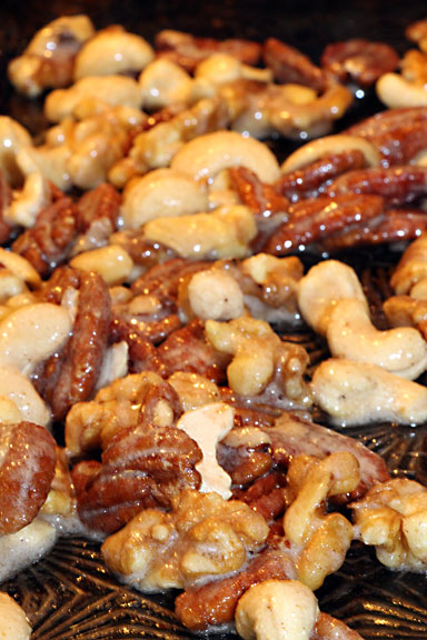 Sugared Nuts on Baking Sheet