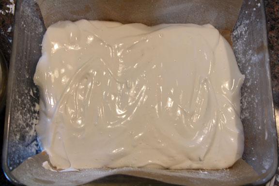 Homemade marshmallow spread in pan