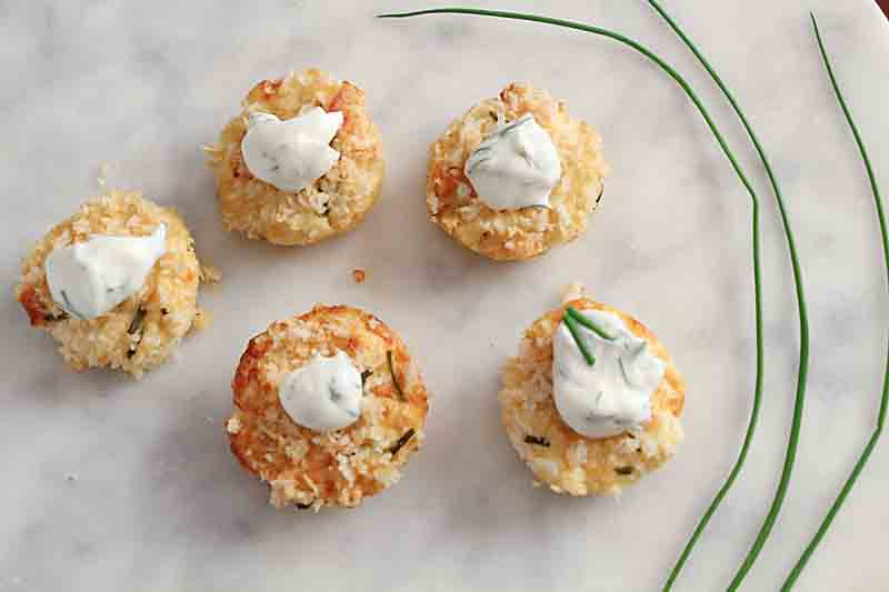 This Mini Crab Cake Appetizer is rich and flavorful and reminiscent of the full size dinner entree. But even more fun!