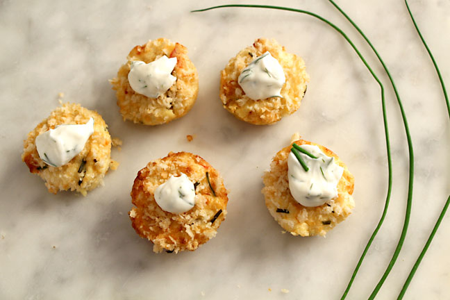 Mini crab cakes on marble