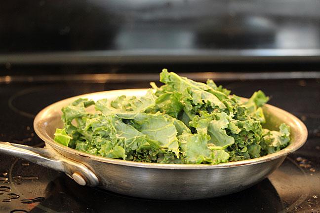 kale in frying pan