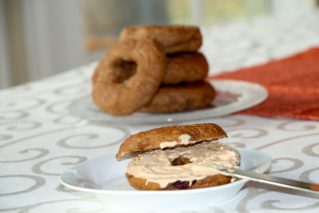 Pumpkin bagel with pumpkin cream cheese