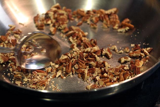 Pan toasting pecans