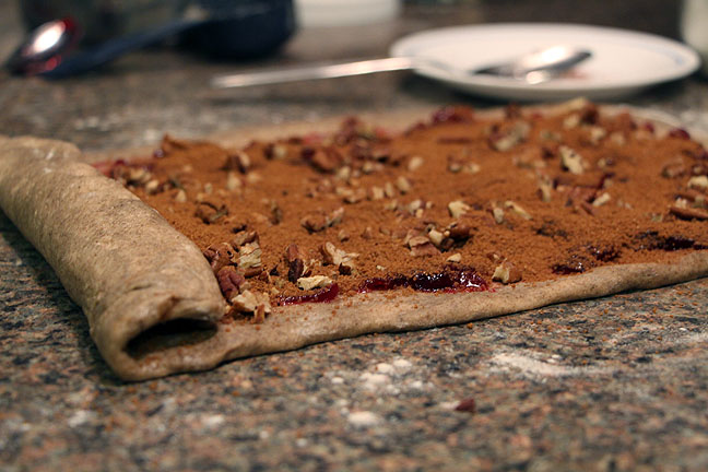 Roll up cinnamon roll dough