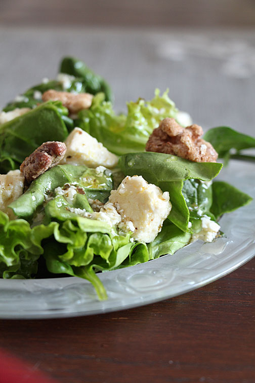 Homemade feta cheese on a salad