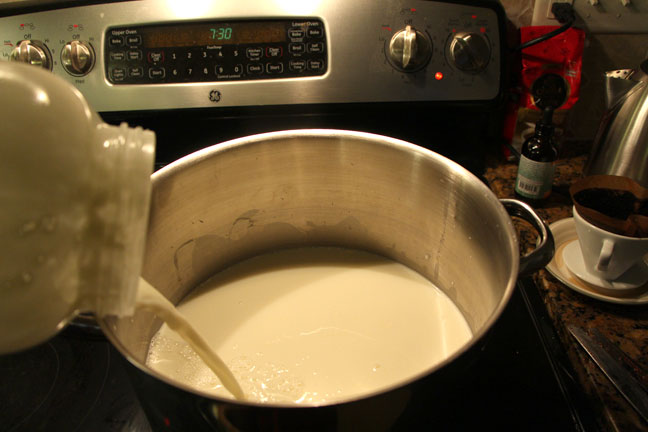 heating milk for homemade feta