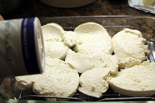 Salt and drain homemade feta