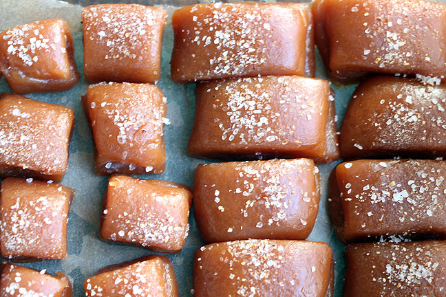 Cut salted caramels