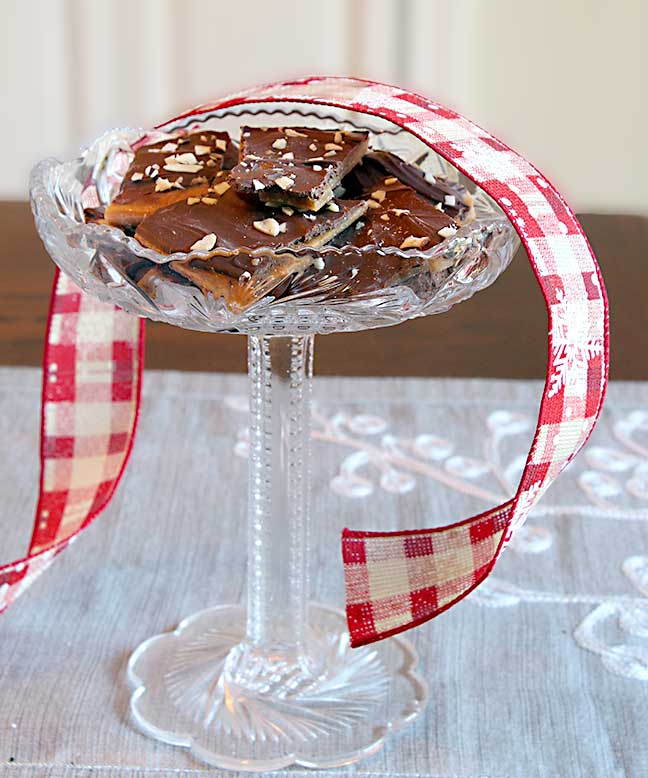 Homemade Toffee on a Glass Stand