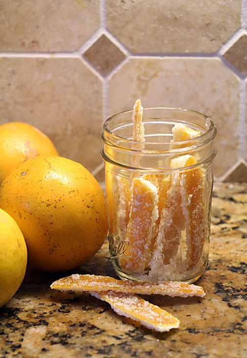 Candied Orange Peel with oranges
