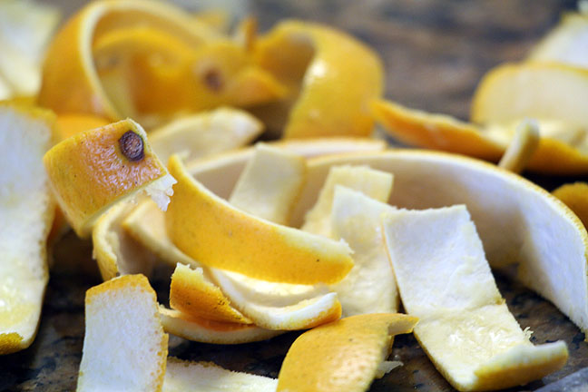 Leftovers are perfect for making candied orange peel