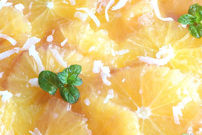 Closeup of coconut orange tart