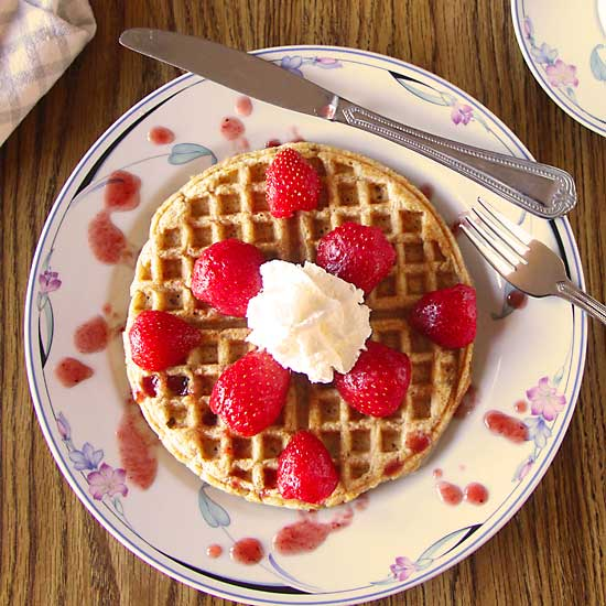 Whole Wheat Waffle with strawberry from above...